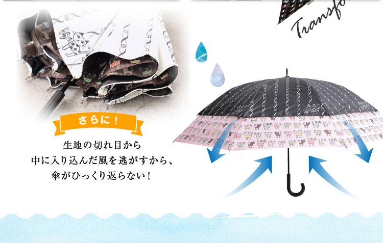 生地の切れ目から中に入り込んだ風を逃がすから、傘がひっくり返らない!