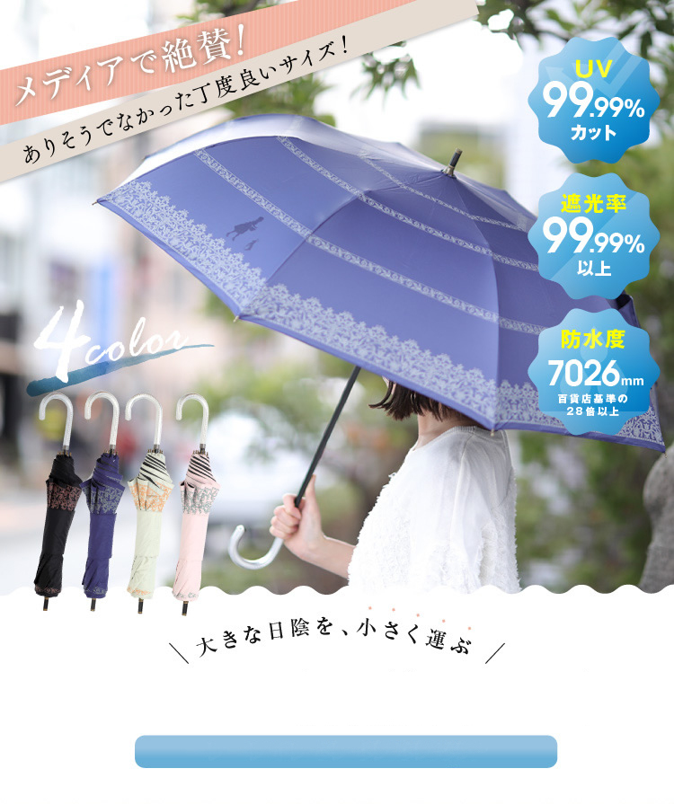 大きな日陰を、小さく運ぶ ショートワイド晴雨兼用UV傘 レースボーダープリント柄