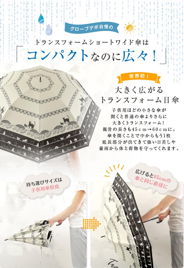 トランスフォームショートワイド傘はコンパクトなのに広々!