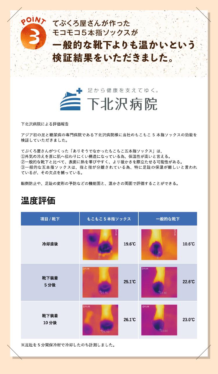 てぶくろ屋さんが作ったモコモコ5本指ソックスが一般的な靴下よりも温かいという検証結果をいただきました。