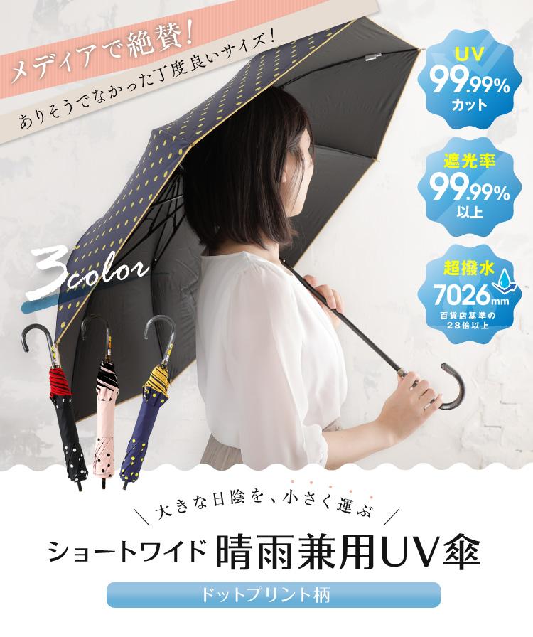 大きな日陰を、小さく運ぶ ショーワイド晴雨兼用UV傘 ドットプリント柄