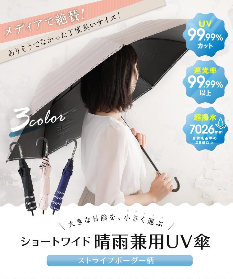 大きな日陰を、小さく運ぶ ショーワイド晴雨兼用UV傘 ストライプボーダー柄