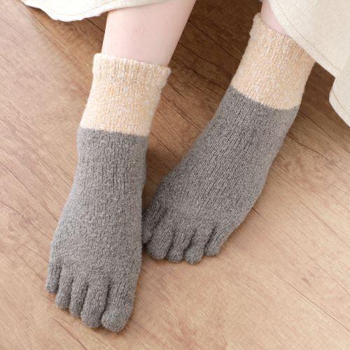 てぶくろ屋さんがつくったモコモコ5本指ソックスショート丈ゆったり派シングルタイプ 日本製 上質な裏起毛 シュークリーム糸使用