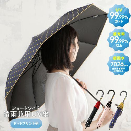 ショートワイド晴雨兼用UV傘ドットプリント柄