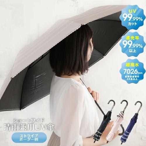 ショートワイド晴雨兼用UV傘ストライプボーダー柄